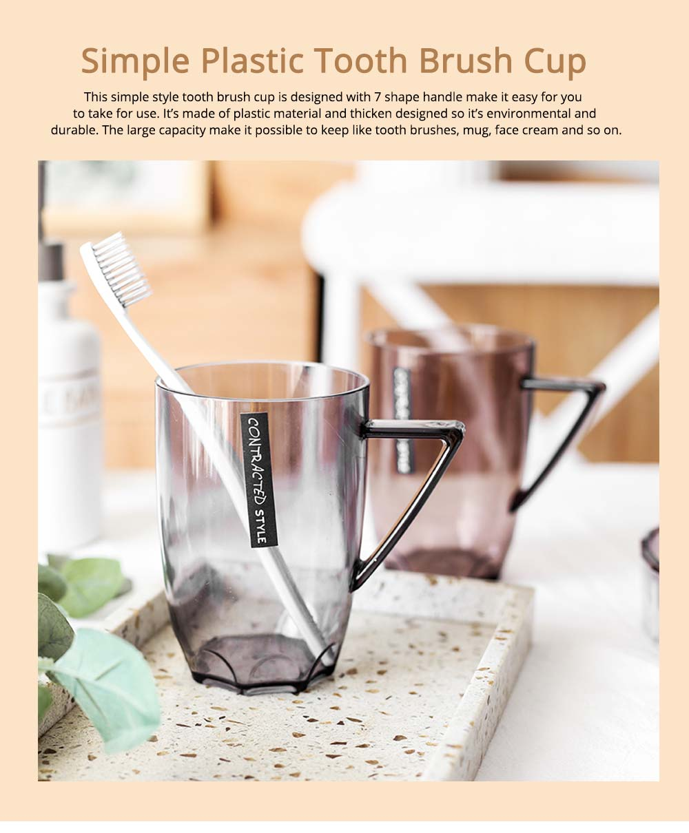 Transparent Plastic Toothbrush Holder Cup For Couple, 480ml 0