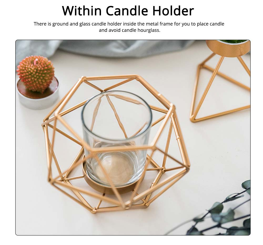 Simple Metal Candlestick Holder Geometric Shape for Candlelight Dinner 3