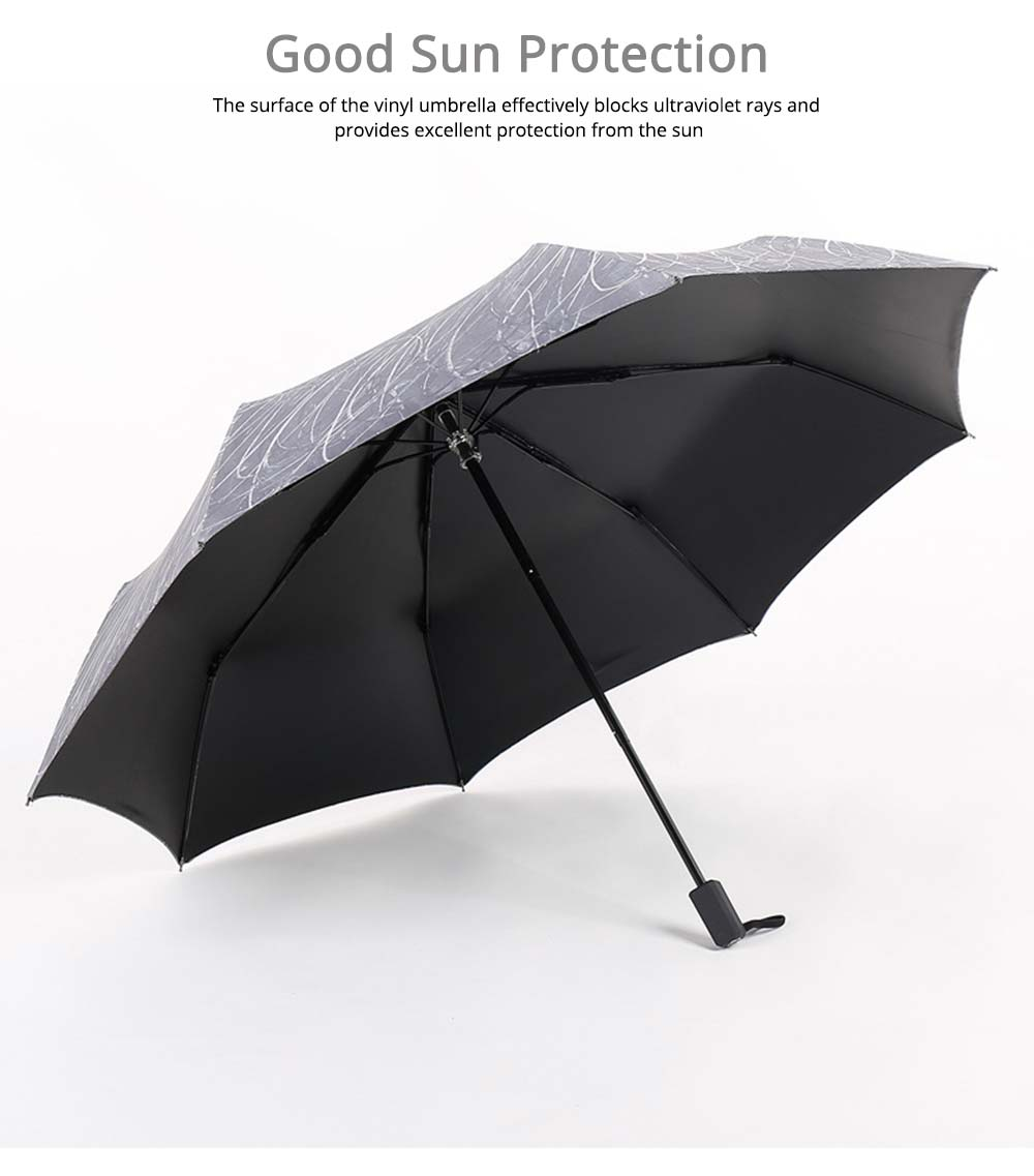 Compact Travel Graffiti Umbrella, 3 Folds Auto Open Close Vinyl Umbrella 2