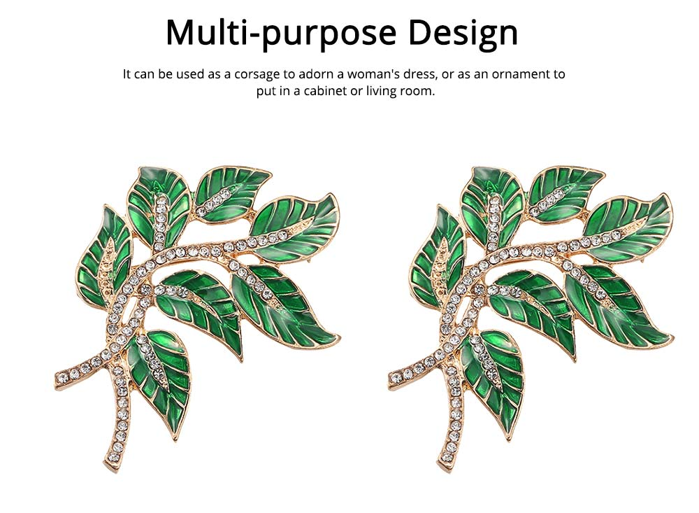 Alloy Diamond Brooch Pins, Women's Corsage with Dripping Oil Enamel Design 5