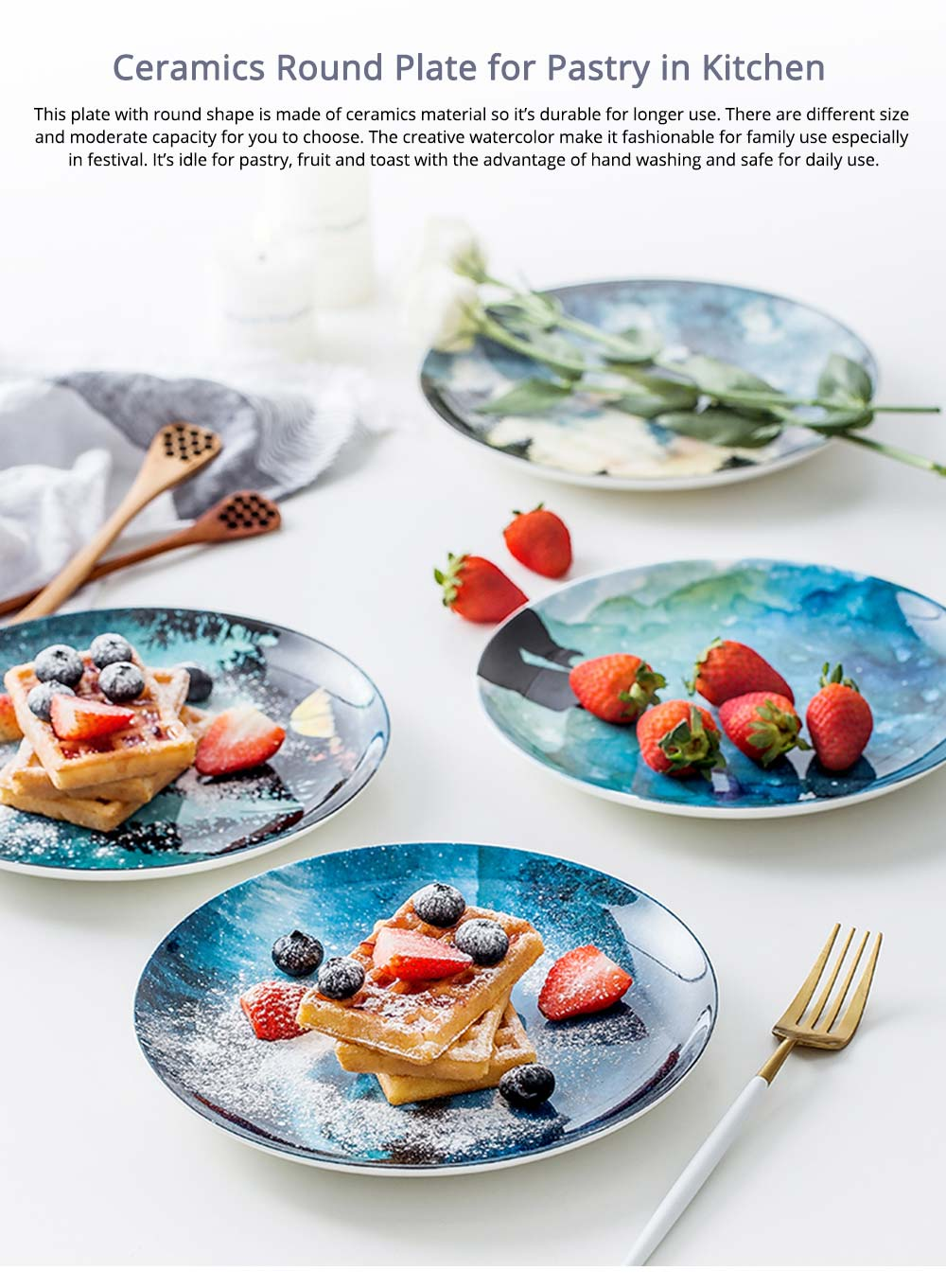 Watercolor Round Ceramic Dinner Plates For Pastry With Different Fresh Style 0