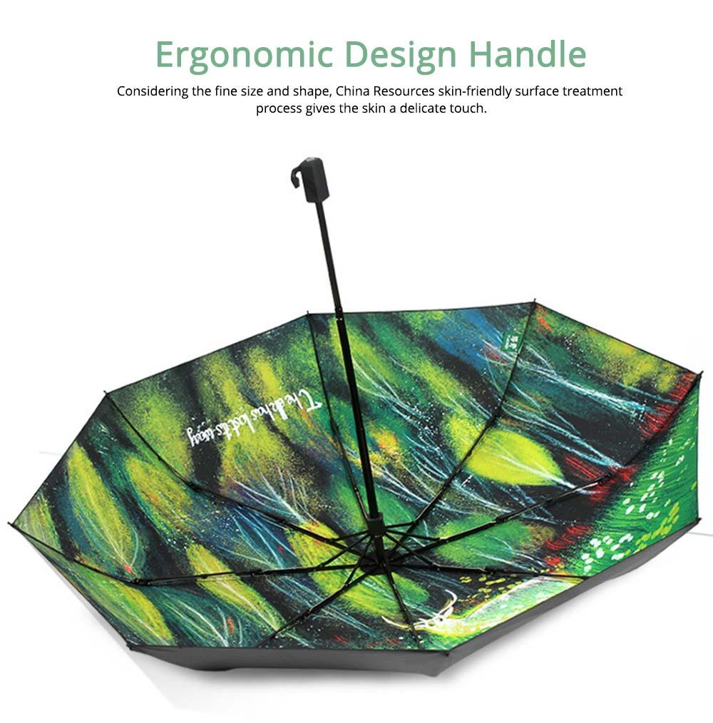 Fantasy Forest Elk Small Black Umbrella, Three Fold Anti-UV Rain Umbrella 6