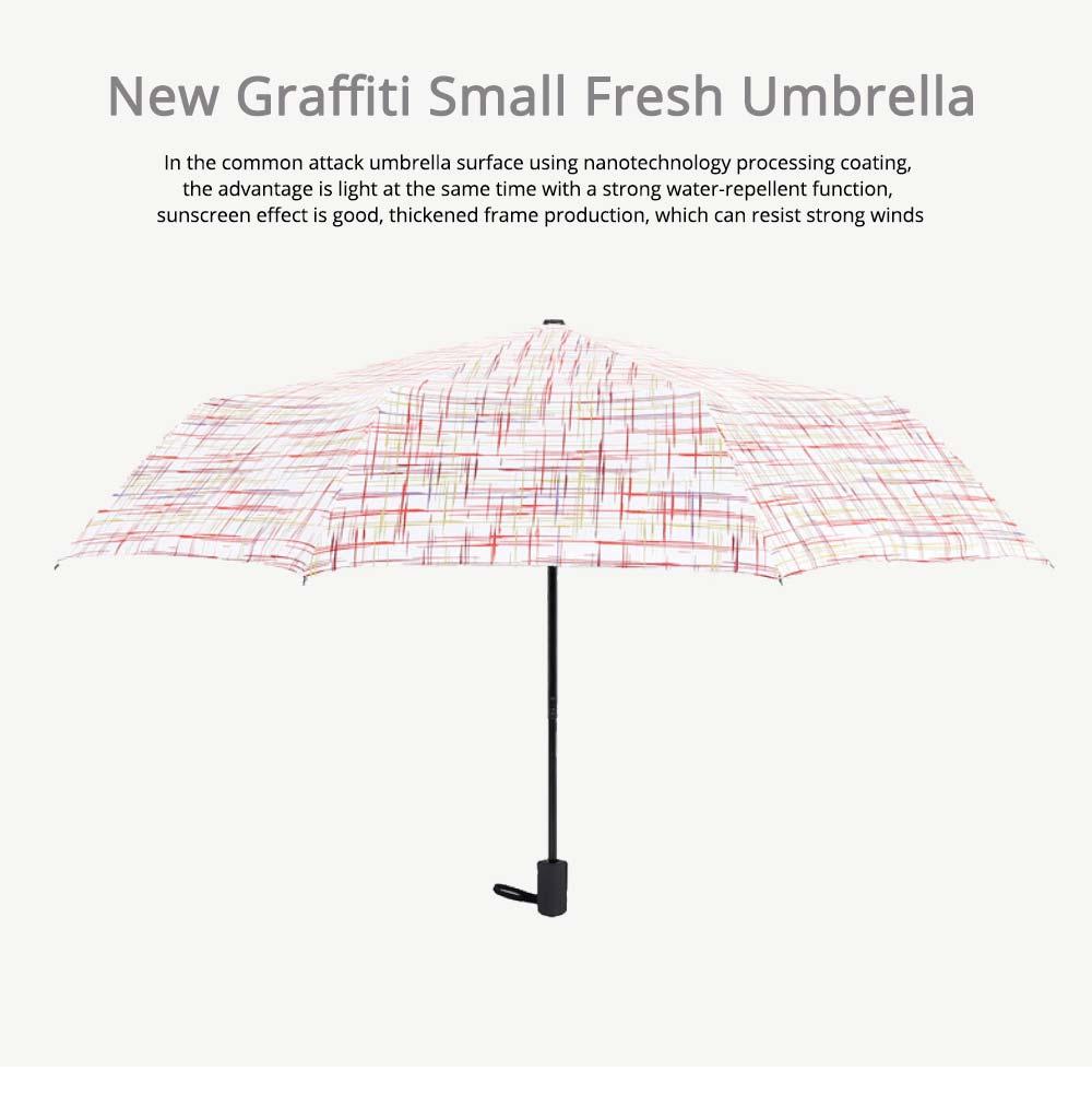 Compact Travel Graffiti Umbrella, 3 Folds Auto Open Close Vinyl Umbrella 0