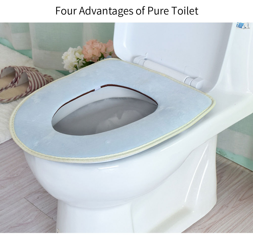 Bathroom Warmer Toilet Washable Plain Seat Cover Pads for Four Seasons Universal 11
