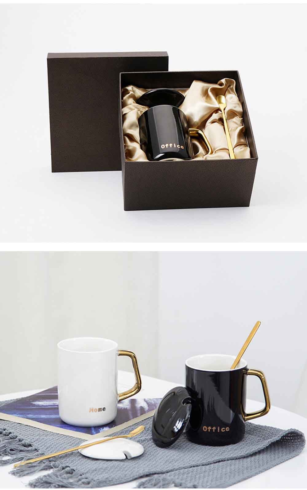 Black and White Ceramic Coffee Mug with Gold Plated Handle 13