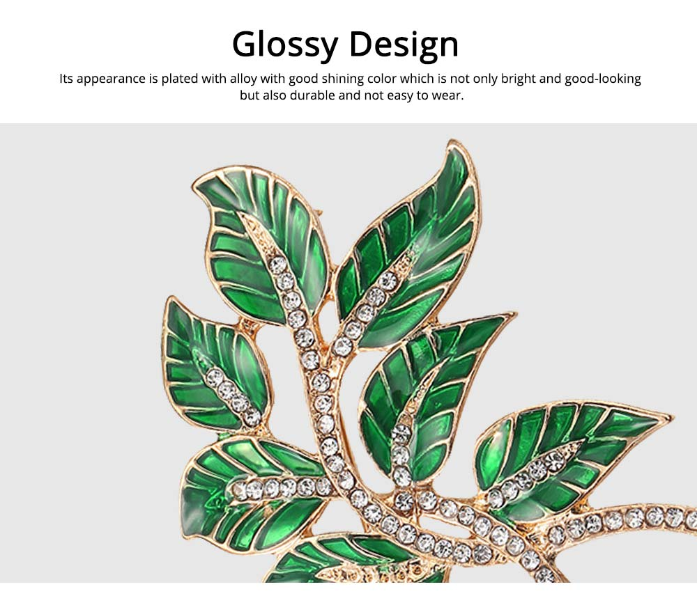 Alloy Diamond Brooch Pins, Women's Corsage with Dripping Oil Enamel Design 2