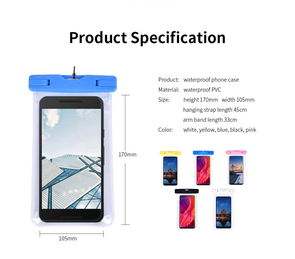 Waterproof Phone Case For Swimming, Transparent PVC Smart Phone Case 6-Inch 7