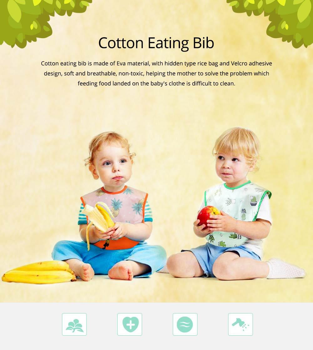 Cotton Baby Eating Bib with Hidden Type Rice Bag, Eva Cartoon Waterproof Disposable Baby's Bib 0
