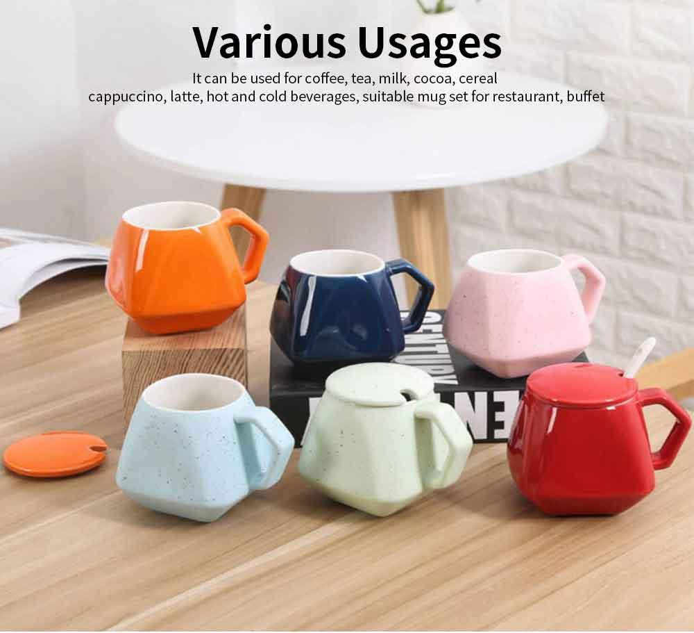 Polygonal Style Ceramic Coffee Milk Mugs, Colorful Stylish Porcelain Mugs 3
