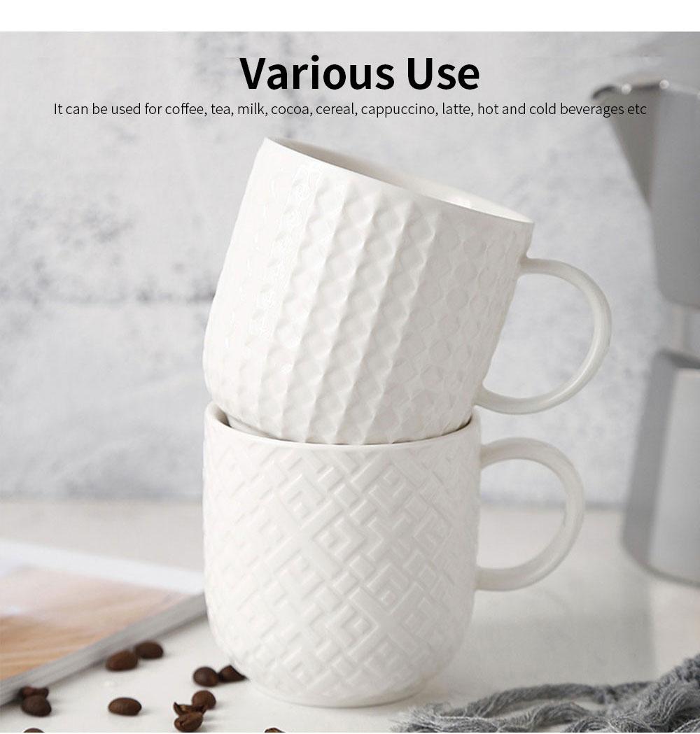 Ceramic Embossed Mugs, Plain Color Porcelain Coffee Mugs For Household Coffee Shop Bookshop Restaurant 5
