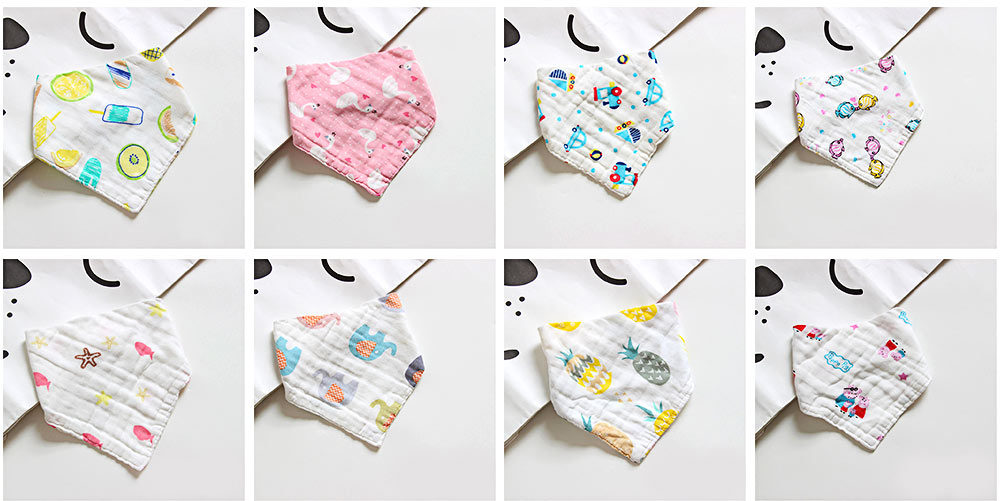 Cotton Baby Bibs For Boys, Multi-Purpose Triangle Towel With Lovely Cartoon Pattern 11