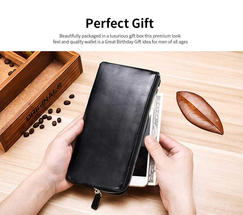 Best Mens Long Bifold Wallet, Genuine Leather Ultra-Thin Zipper Wallet For Mobile Phone 12