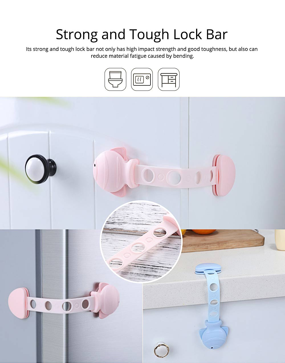 Children's Multifunctional Safety Lock, Anti-pinch Lock for Drawer, Cabinet Door, Refrigerator, Toilet 5