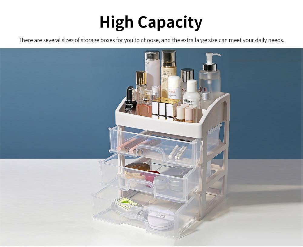 Drawer Type Makeup Organizer, Plastic Simple Cosmetic Holder Dormitory Commodity Shelf for Students 3