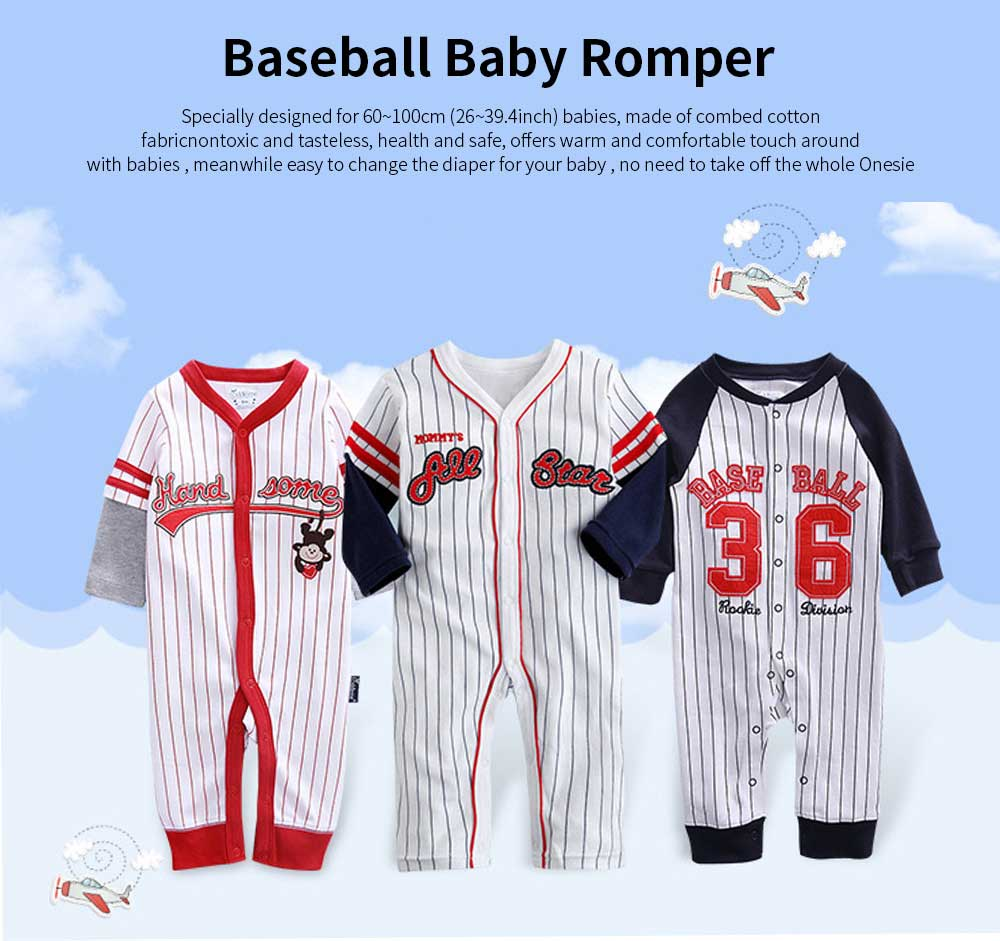 Unisex Baseball Baby Onesie for Spring Autumn Winter, Skin-friendly Cotton Baby Jumpsuit 0