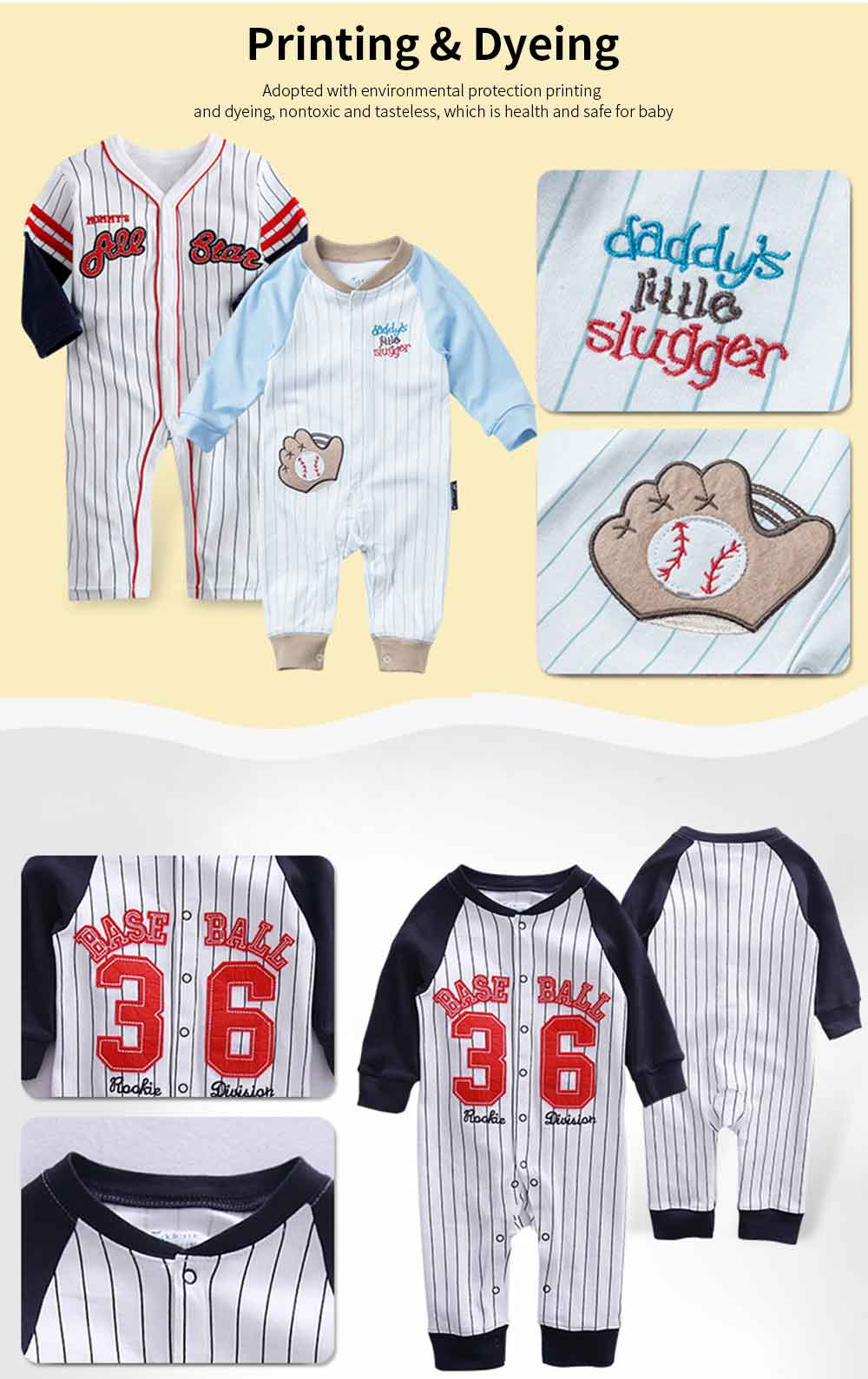 Unisex Baseball Baby Onesie for Spring Autumn Winter, Skin-friendly Cotton Baby Jumpsuit 5