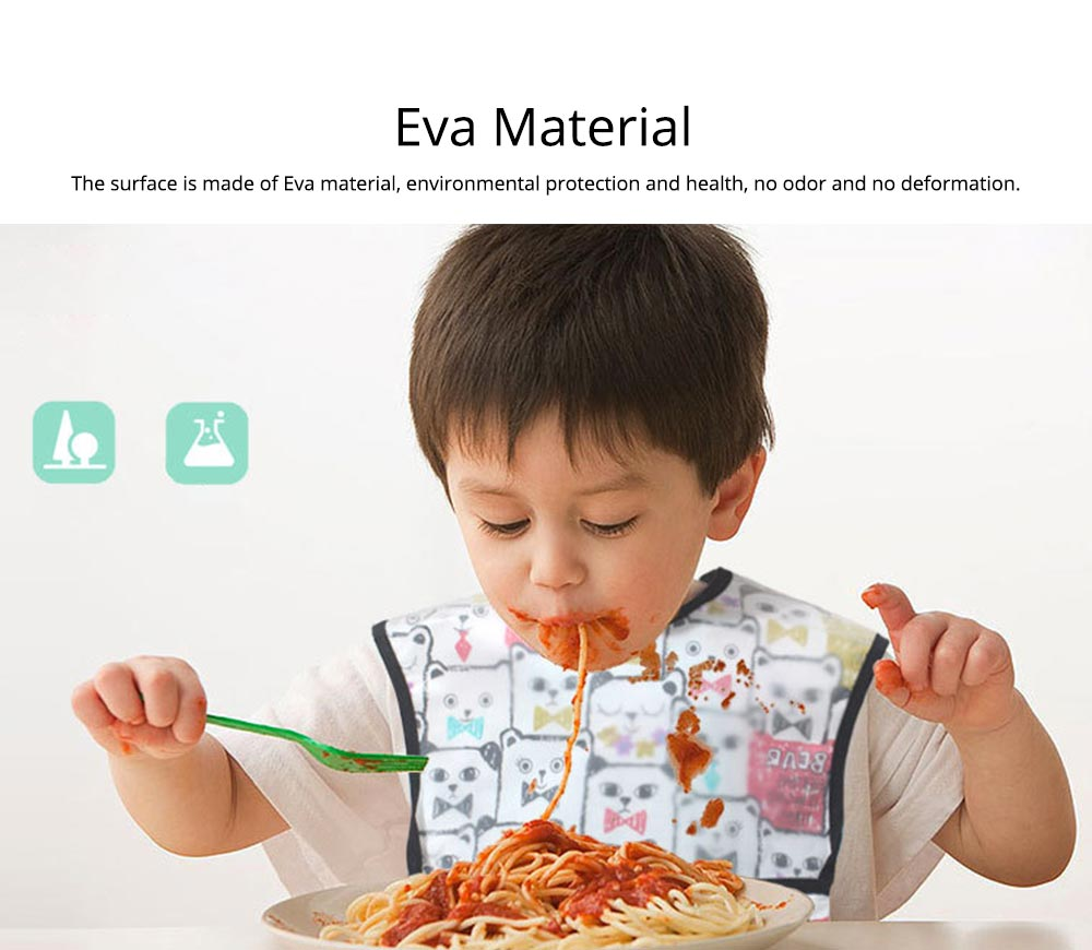 Cotton Baby Eating Bib with Hidden Type Rice Bag, Eva Cartoon Waterproof Disposable Baby's Bib 4