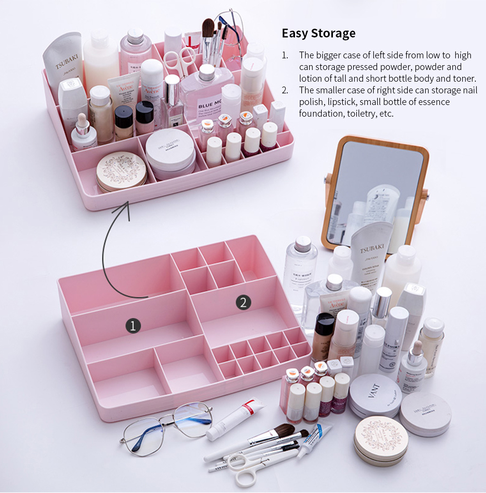 Makeup Holder Case Box with 13 Compartments, Simple Plastic Desktop Case for Cosmetic Skin Care Product Lipstick 4