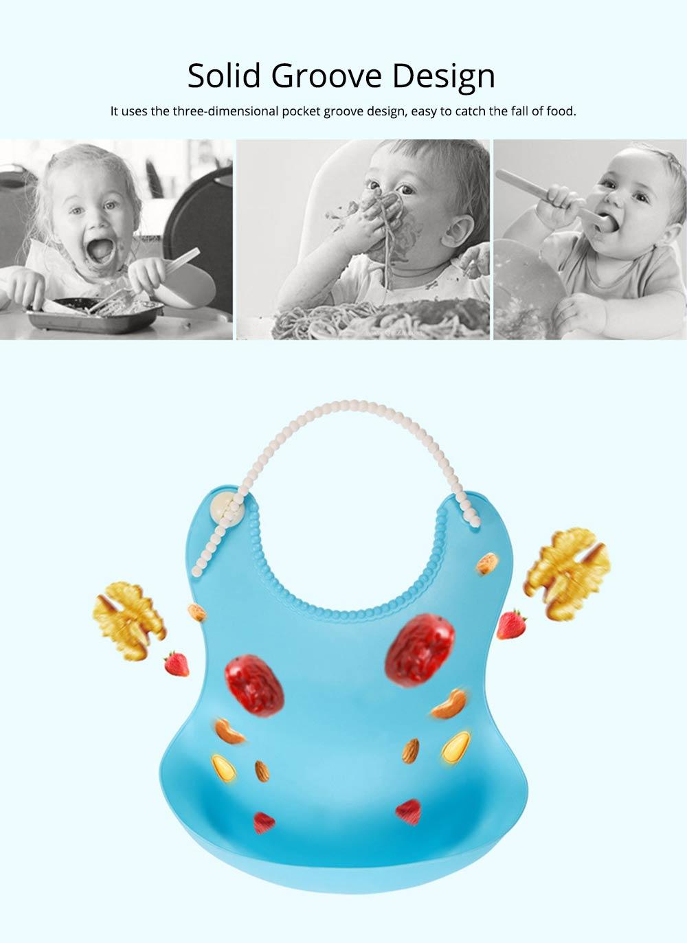 Soft PEVA Waterproof Baby's Bib, Breathable Pocket Groove Bib for Baby 1