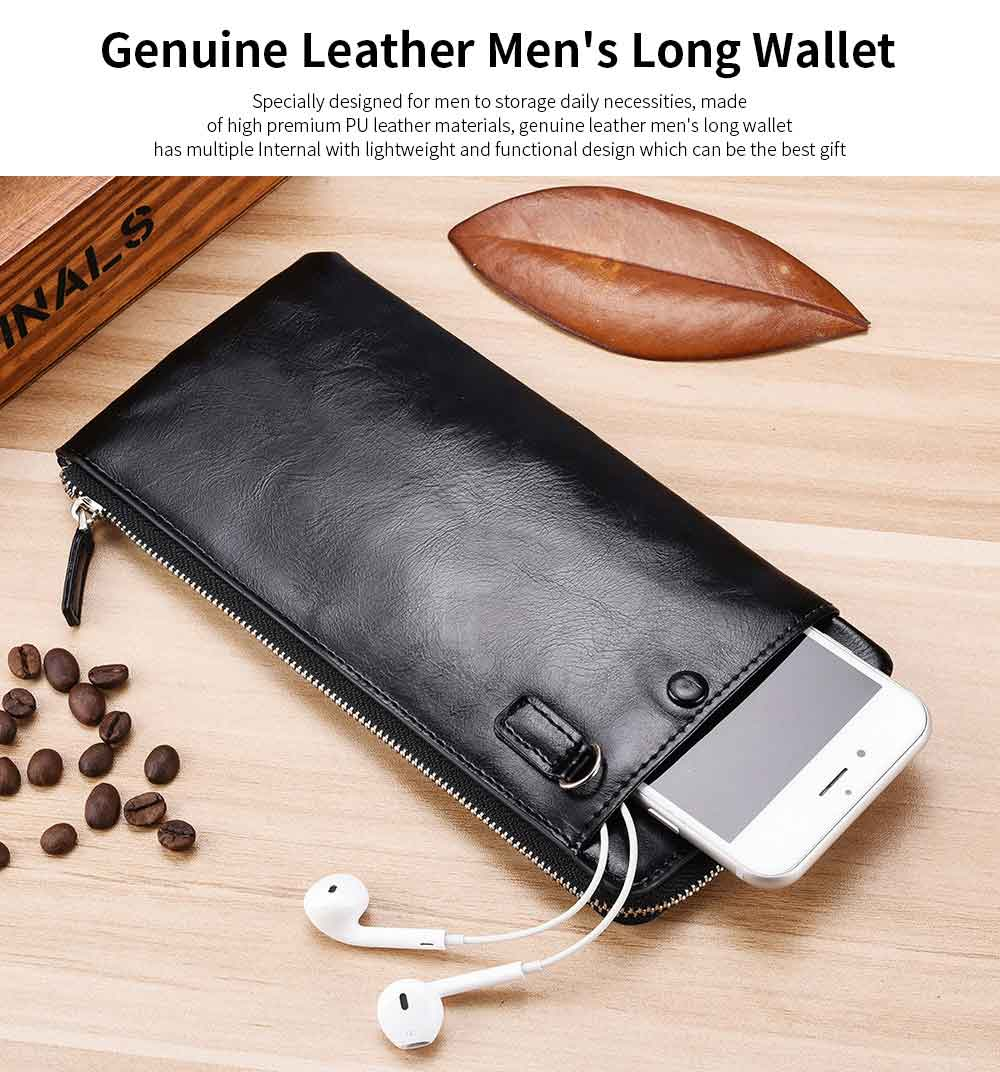 Best Mens Long Bifold Wallet, Genuine Leather Ultra-Thin Zipper Wallet For Mobile Phone 0