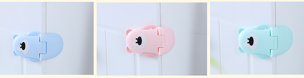 Baby Cartoon Anti-pinching Lock, Multifunctional Safety Lock with Double Button Switch Design 3