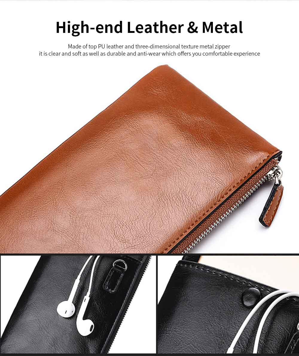 Best Mens Long Bifold Wallet, Genuine Leather Ultra-Thin Zipper Wallet For Mobile Phone 1