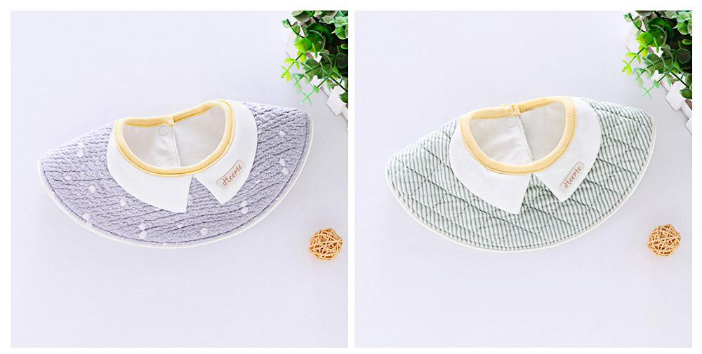 360° Rotating Children's Saliva Towel, Nature Cotton Fabric Lace Round Bib 1