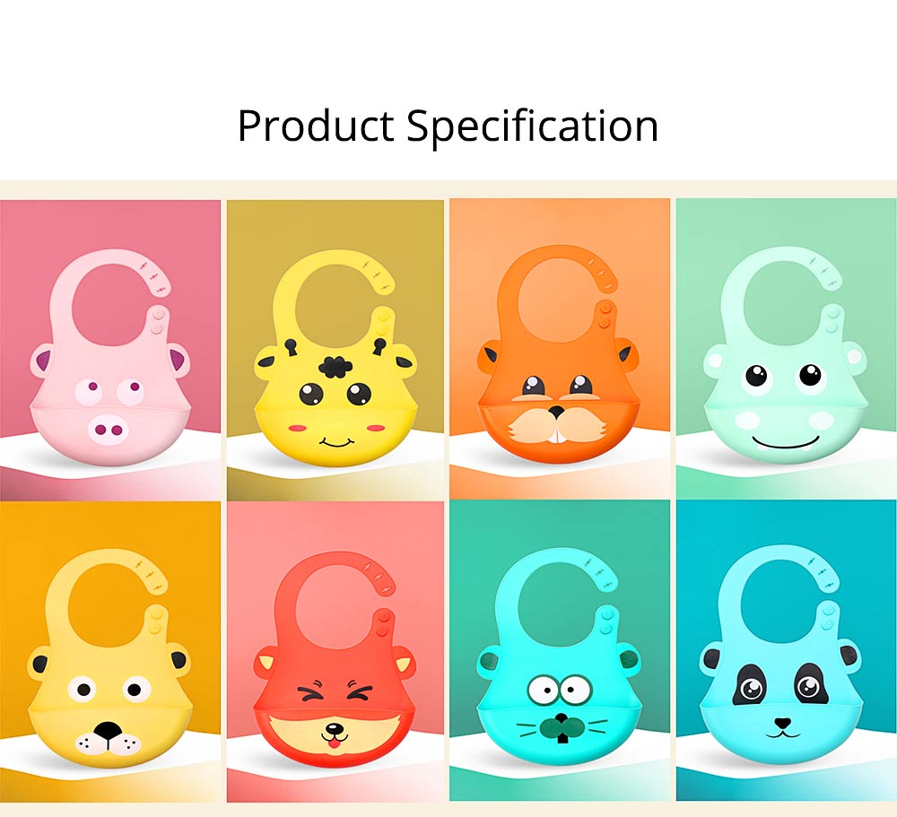 Food Grade Silicone Baby Feeding Bib, Waterproof Disposable Baby Rice Bib with 2-button Design 8