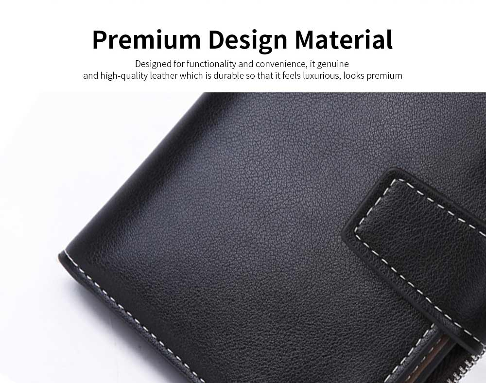 Business Multifunctional Men's Long Wallet with Multi-card And Three-fold, Durable Waterproof Wallet for Photos and Cards 1