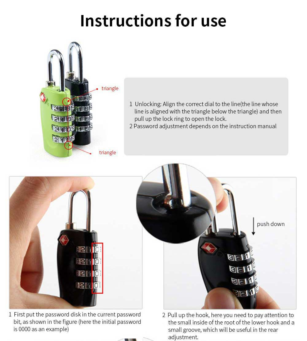 Luggage Locks with 4 Digit Combination for Travel, Baggage, Suitcases & Backpacks 6