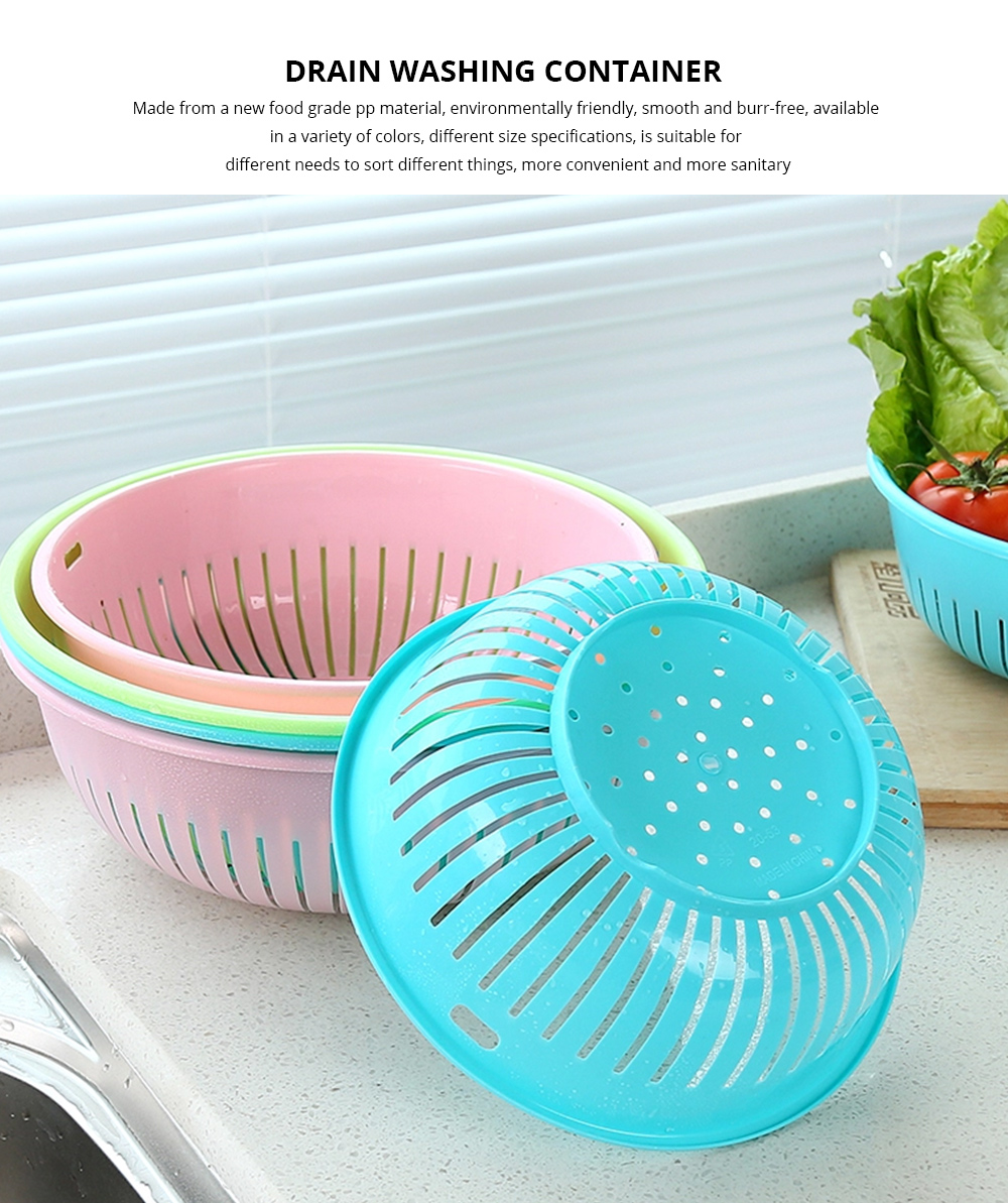 Plastic Drain Washing Basket, Vegetables And Fruit Drain Basket, Storage Container 0