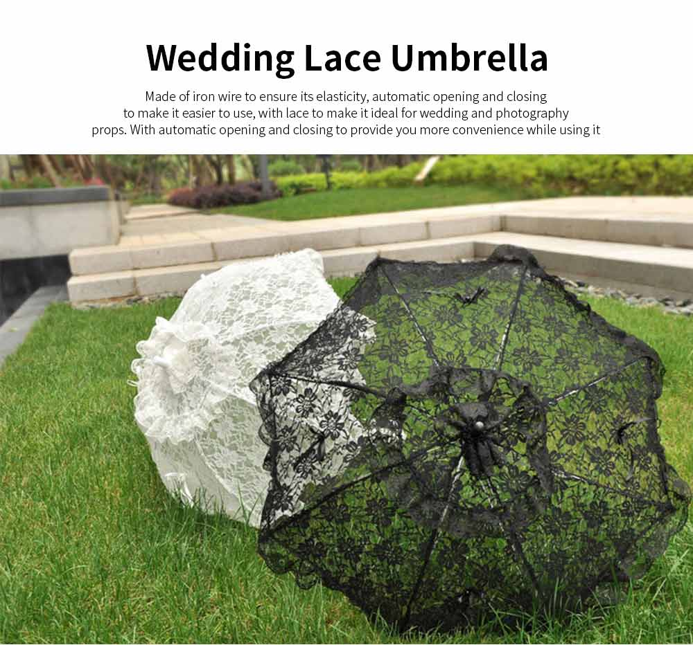 Wedding Lace Parasol Umbrellas, Wedding Decoration Umbrella With Wooden Handle 0