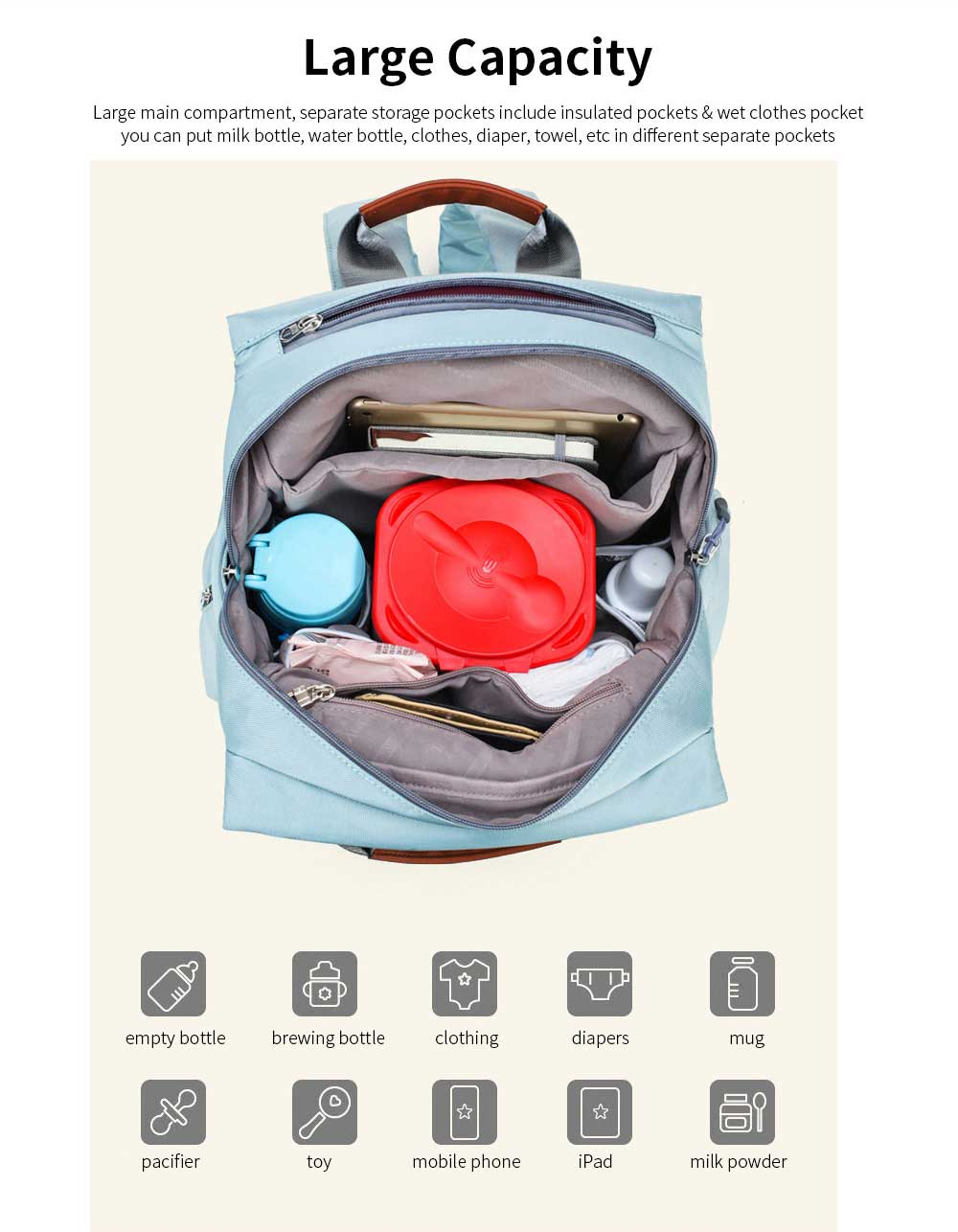 Waterproof Multi-functional Mummy Backpack with Large Capacity 2