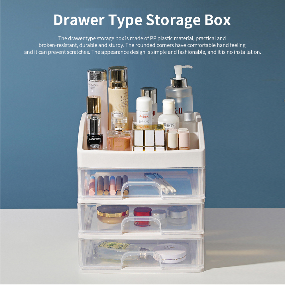 Drawer Type Makeup Organizer, Plastic Simple Cosmetic Holder Dormitory Commodity Shelf for Students 0