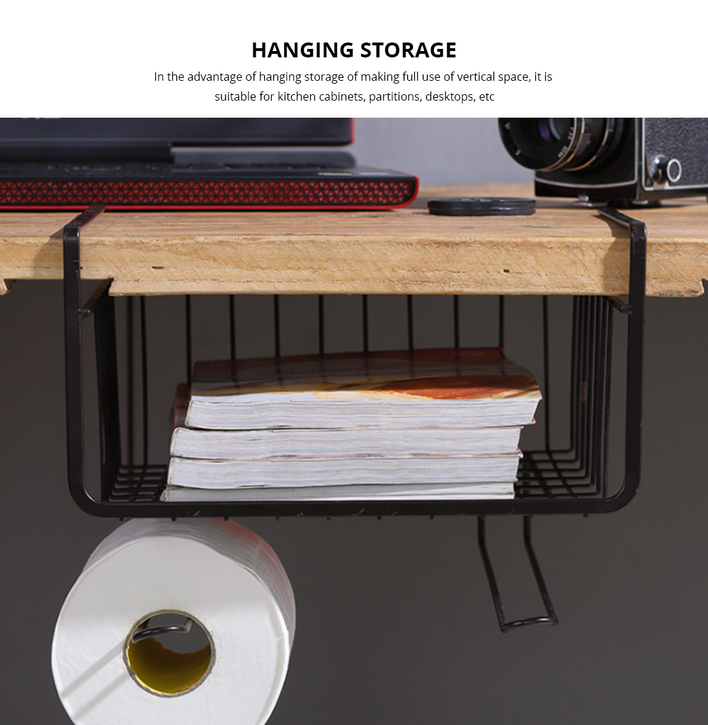 Cabinet Hanging Basket Hanger, Carbon Steel Kitchen Storage Rack, Embedded Suspension Storage Shelf 1