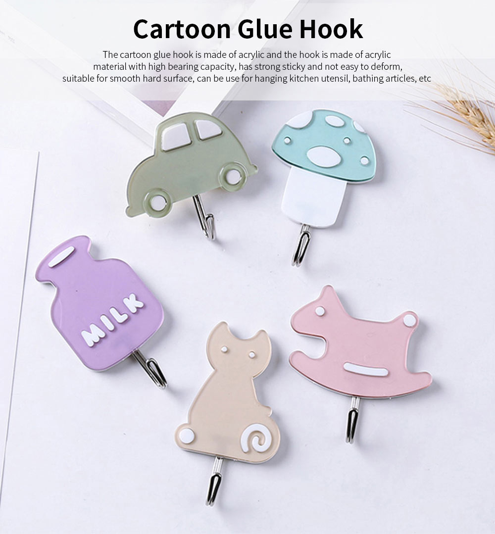 Cartoon Glue Stick Hook, Heavy Duty Self Adhesive Wall Hooks 0