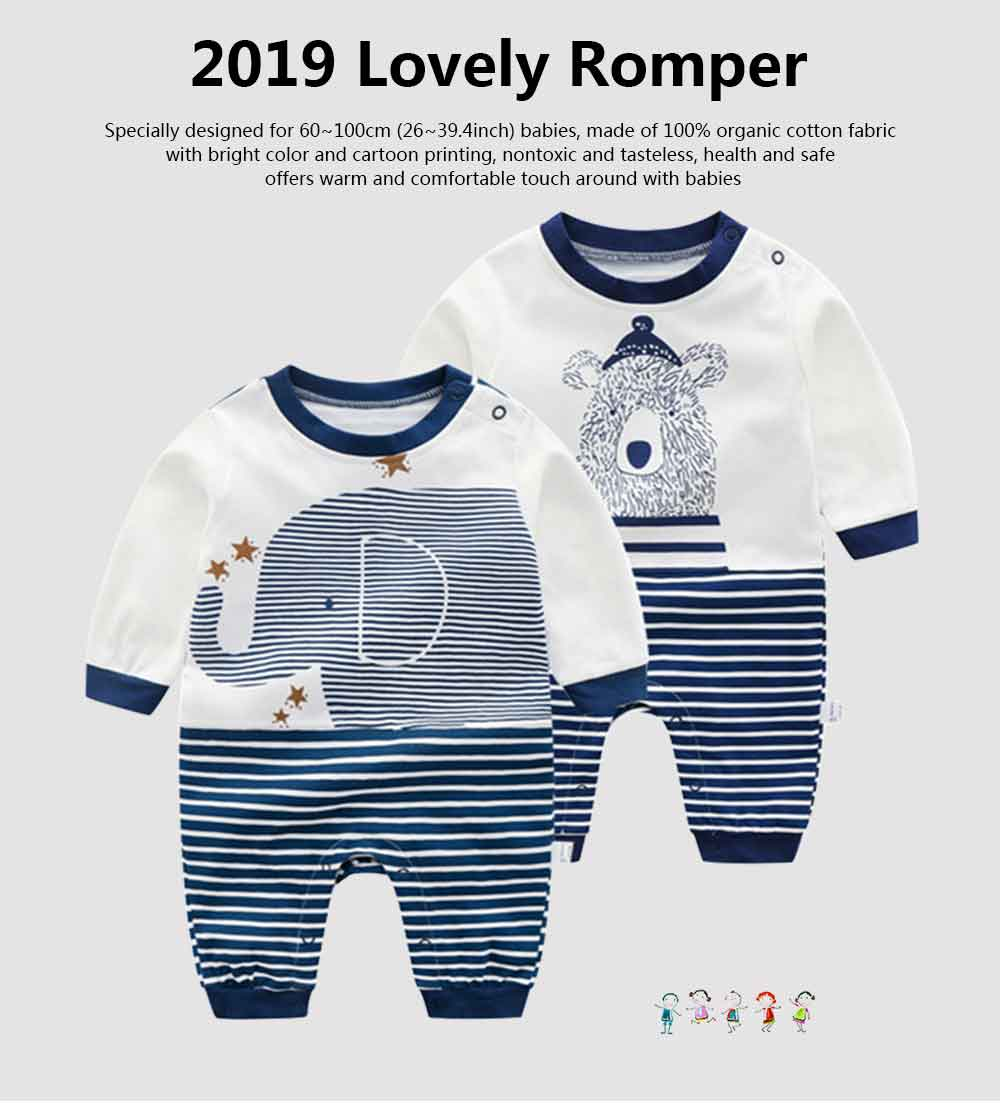 Long Sleeve Infant Romper Round Neck Baby Onesie With Bear Elephant Printing 0