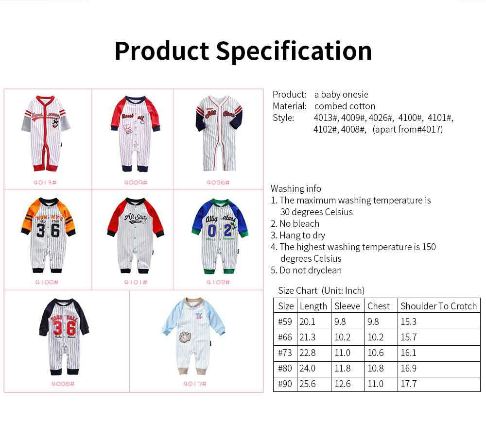 Unisex Baseball Baby Onesie for Spring Autumn Winter, Skin-friendly Cotton Baby Jumpsuit 6