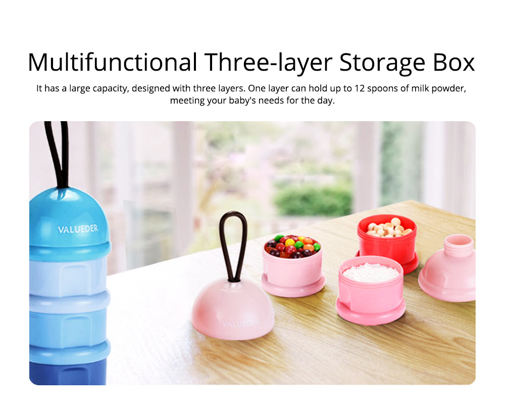 Baby Portable 3-layer Milk Powder Box with Wristband and Spiral Twist Design 1