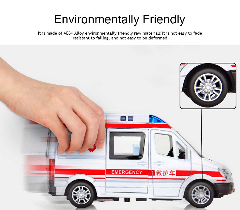Simulation Children's Toy Car, Toy Ambulance, Police Car, Pull Back Car 2
