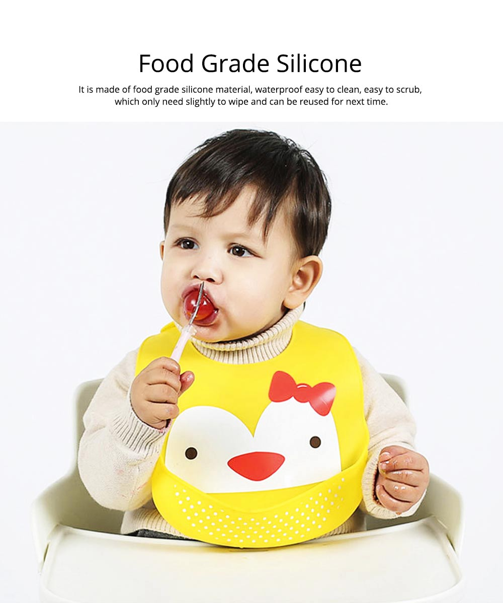 Baby Bib With Food Pocket, Breathable 6-Button Silicone Eating Bib 2