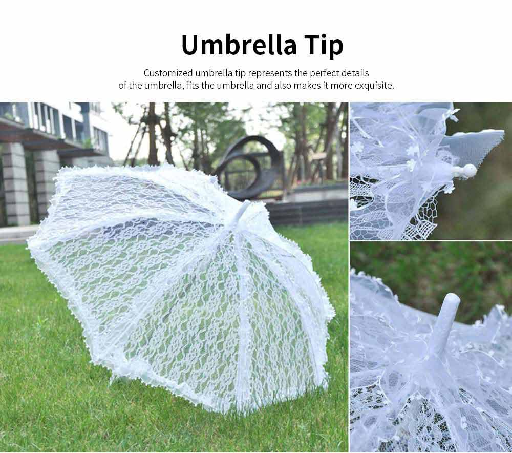 Automatic Wedding Umbrella with Wooden Handle, White Lace Decoration Umbrella, Costume Accessory Wedding Parasol 3