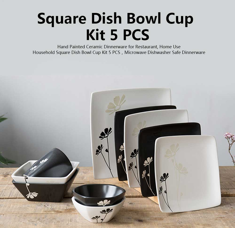 Hand Painted Ceramic Dinnerware for Restaurant, Home Use, Square Dish Bowl Cup Kit 5 PCS 8