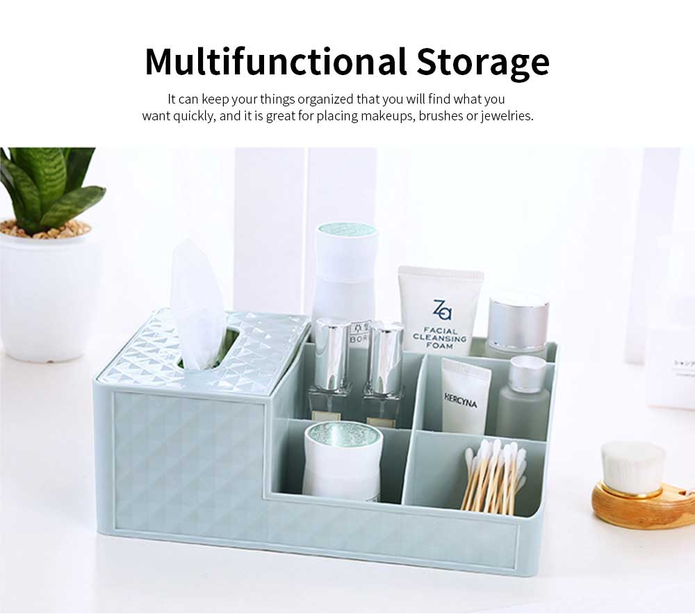 Office Desktop Makeup Organizer, Sundries Table Napkin Box Storage Holder 3