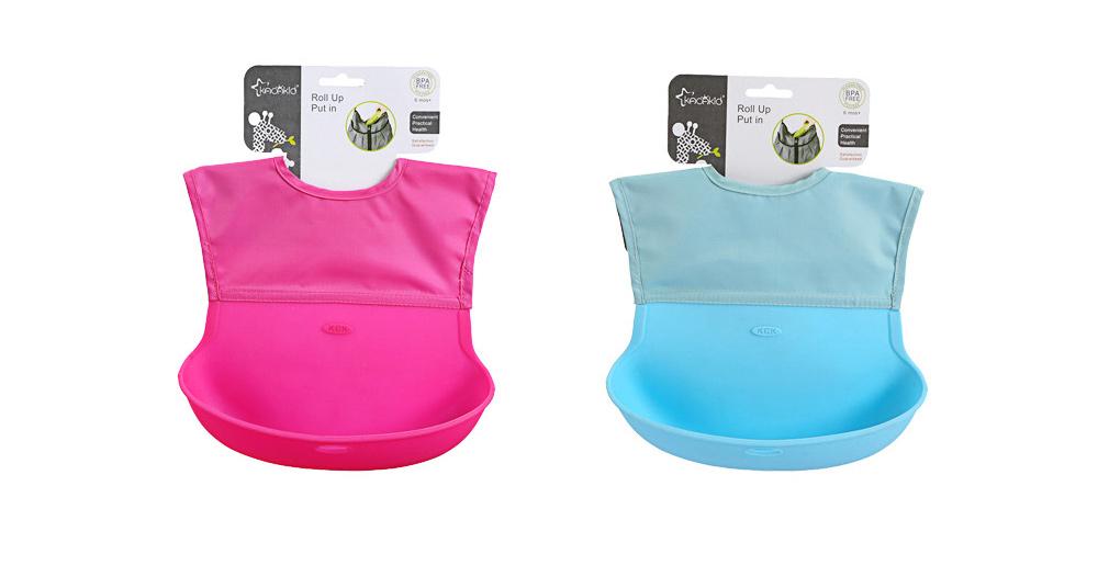Baby Nylon Upper Waterproof Bib, Large Three-dimensional Soft Silicone Children's Eating Pocket Bib 10