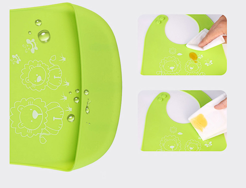 Three-dimensional Pocket Groove Baby's Bib, Waterproof Disposable Rice Bib with 6-button Design 12