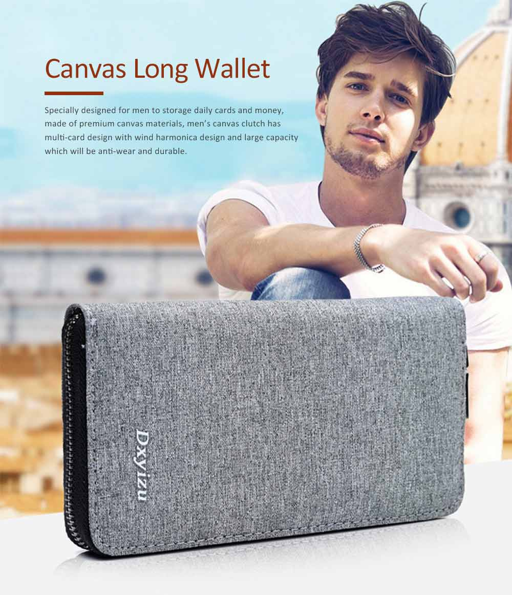 Mens Canvas Long Card Wallet, Business Large Capacity Men's Clutch With Inner Zipper Pocket 0