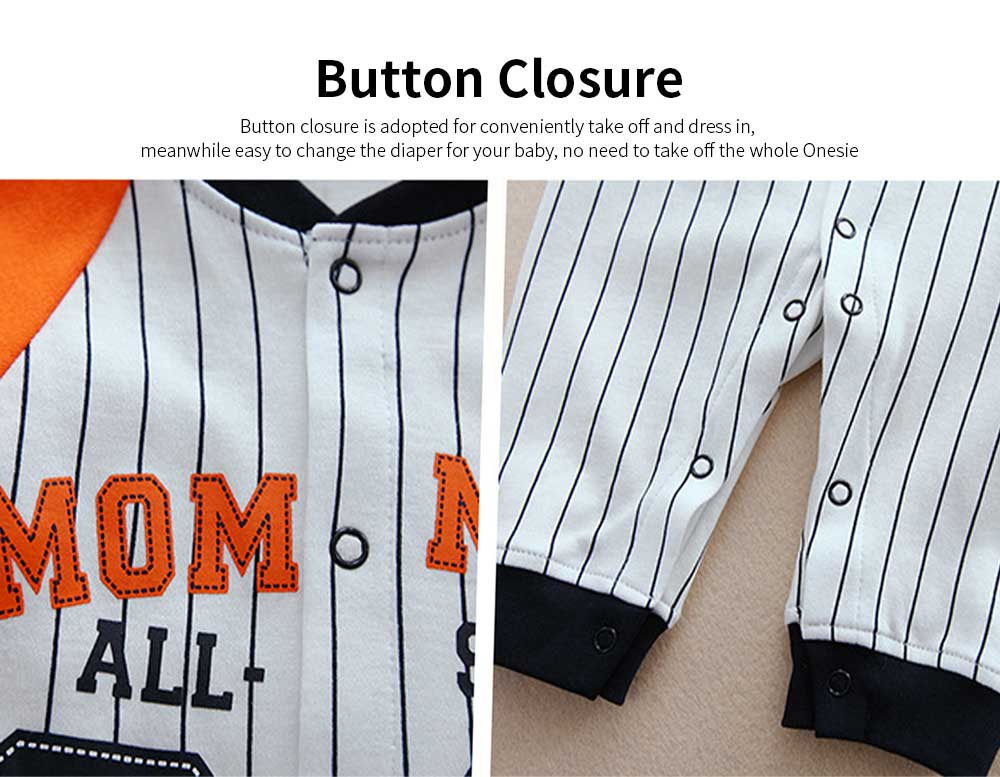 Unisex Baseball Baby Onesie for Spring Autumn Winter, Skin-friendly Cotton Baby Jumpsuit 2