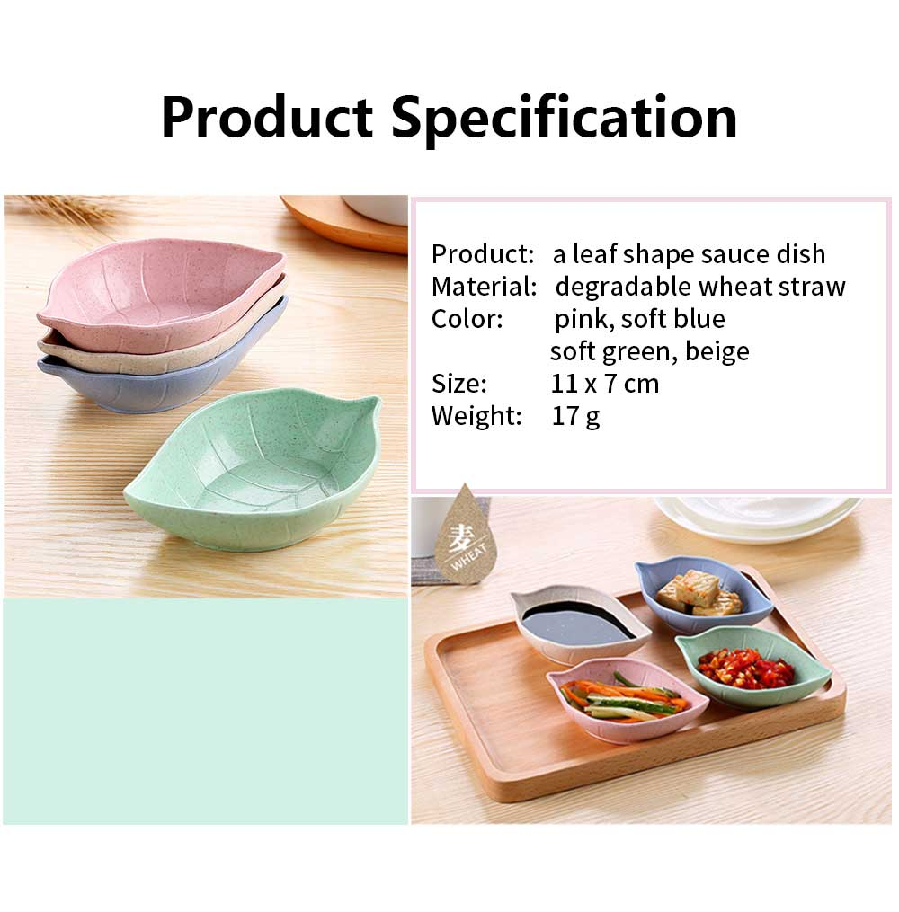 5 PCS Sushi Soy Sauce Dish With Leaf Shape, Degradable Wheat Straw Sauce Bowl For Household Restaurant 6