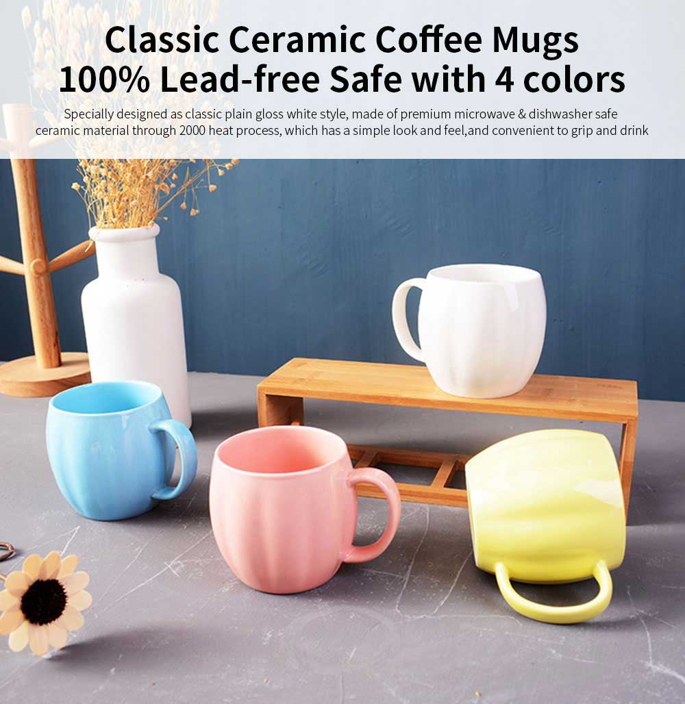 Kitchen Porcelain Mugs, Premium Plain Gloss White Ceramic Coffee Mug Milk Cups with 4 colors 0